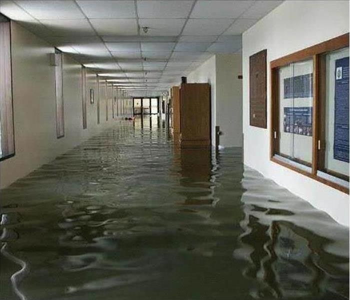 Flooded hallway of a building