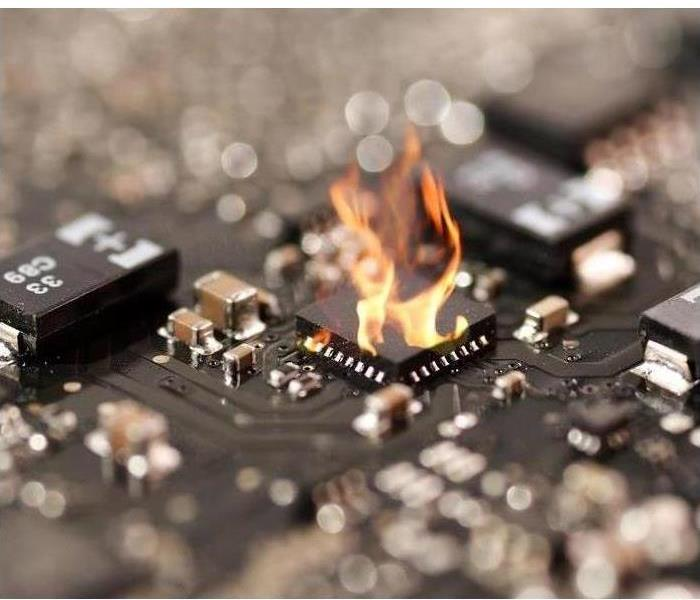 ic or chip in circuit board fire burn